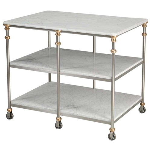 Industrial Stainless & Bronze Kitchen Island 3 Levels of Marble