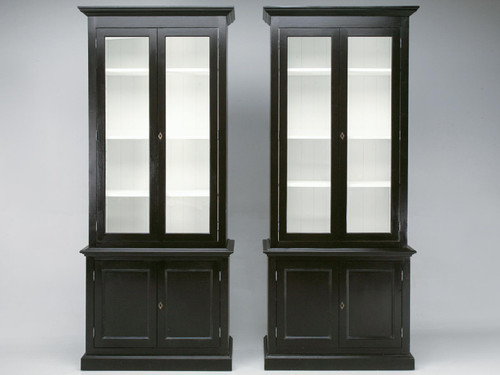 Custom Pair Painted Bookcases, China Cabinets Front