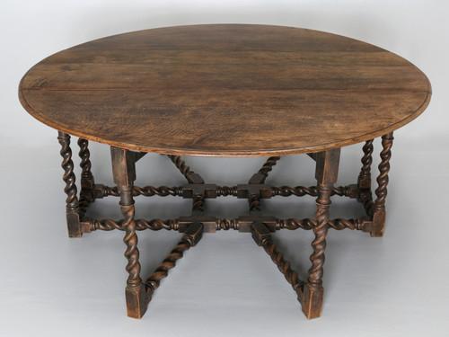 Antique English Drop-Leaf Barley-Twist Table Main
