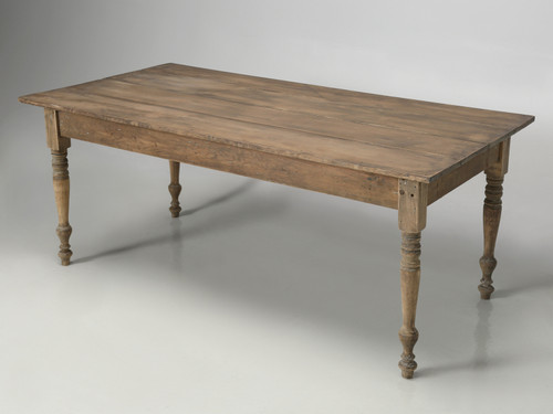 Antique Wisconsin Bred Country Farm Table Angled