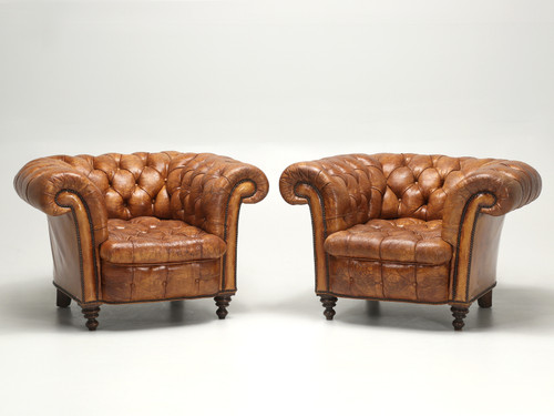 Antique Leather Chesterfield Club Chairs Front