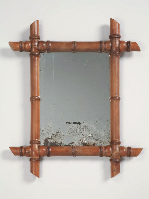 Antique Continental Mirror in Faux Bamboo