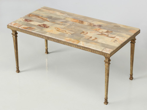French Midcentury Modern Onyx Coffee Table Angled View
