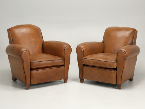 French Leather Club Chairs with Original Leather Pair Front