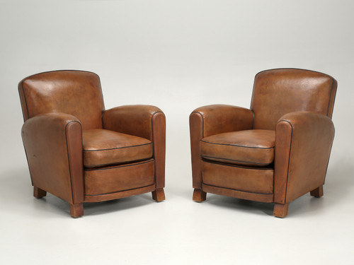French Leather Club Chairs Thoroughly Restored Pair