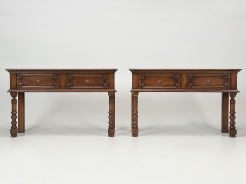 Pair of Country English Console Tables Front