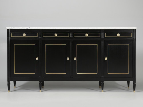 French Louis XVI Style Buffet with Marble Top Front