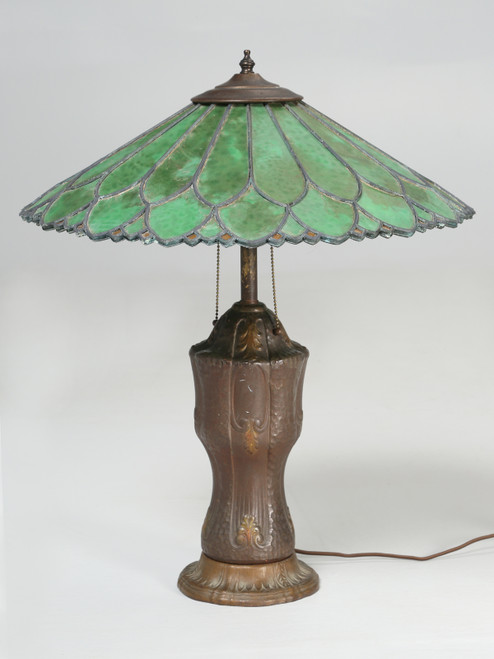 Old Leaded Green Glass Lamp Front