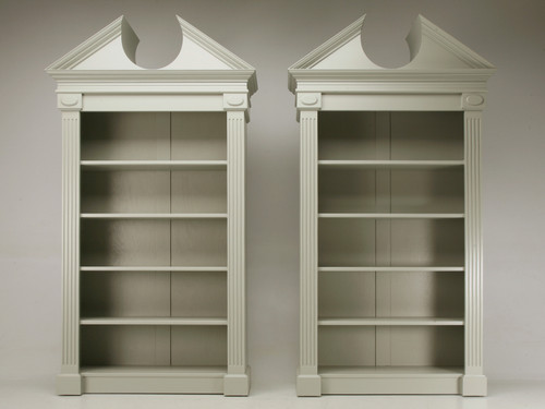 Custom Pair Painted Bookcases w/ Broken Pediment Front