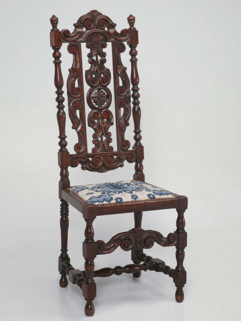 Antique French Hand Carved Chair w/Needlepoint Angled