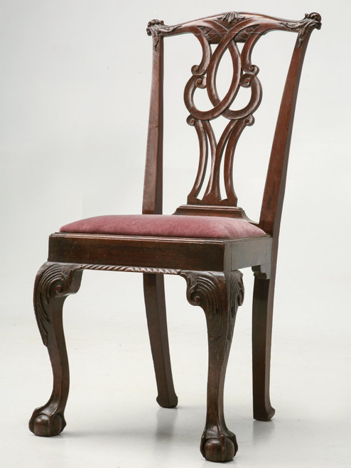 Antique Irish Walnut Chippendale Side Chair Angled