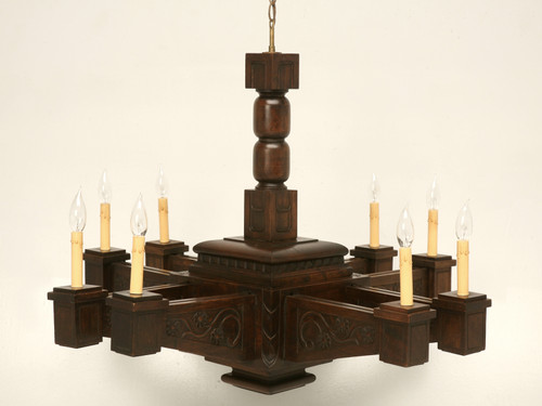 Mission Style Hand Carved Walnut Chandelier