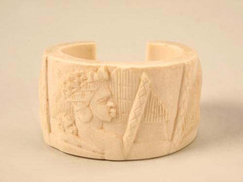 Antique Ivory Tribal Carved Cuff Bracelet
