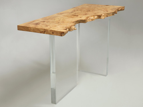 Console Table with Burled Elm Top & Acrylic Transparent Base
