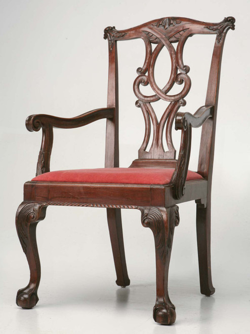 Antique English Chippendale Armchair Angled