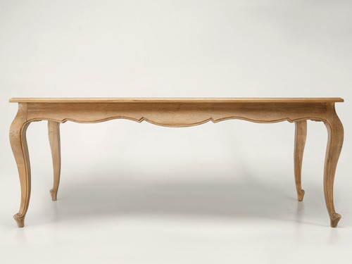 """Weathered Oak Louis XV Style 79"""" Dining Table Front"""