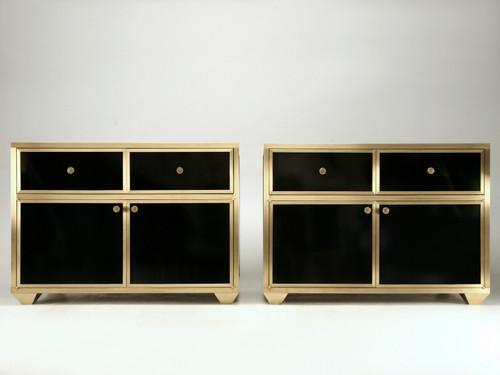 Pair of Bronze & Vitreous Enamel Buffets or Vanities Front