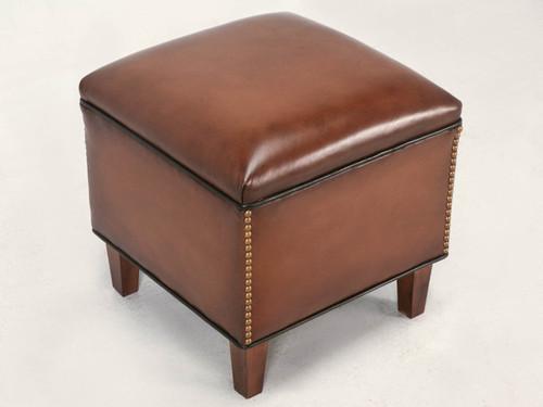 Custom Leather Ottoman to Match Club Chair Angled