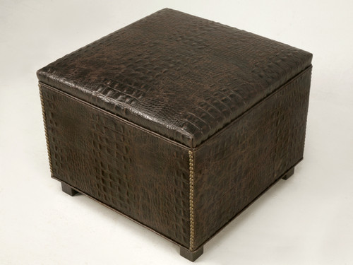 Faux Croc Hand-Made Ottoman Available in Any Dimension Angled