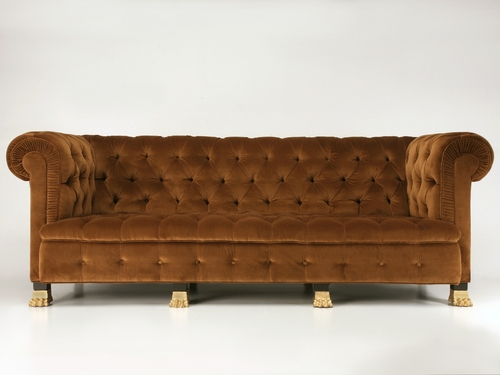 Custom Chesterfield Sofa w/ Gold Feet Front