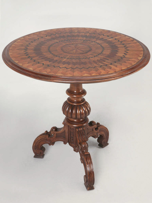 19th Century Hand Inlaid Pedestal Table