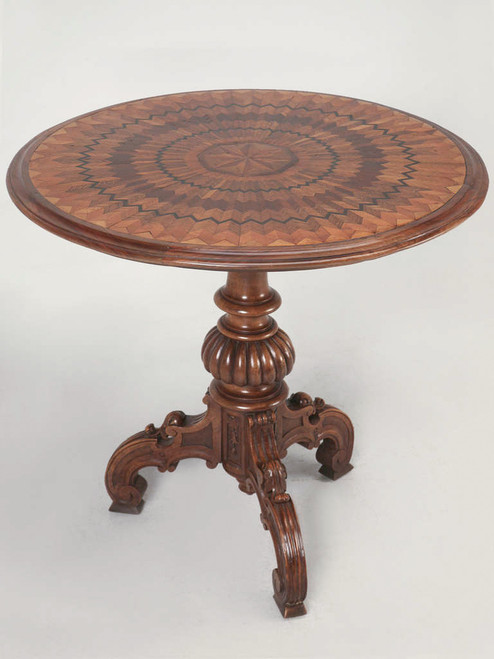 19th Century Hand Inlaid Pedestal Table Angled Front