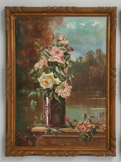 Pair Vintage French Oil on Canvas Paintings