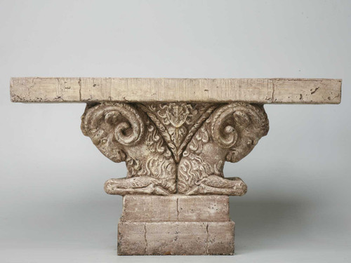 Double Rams Faux Stone Head Console