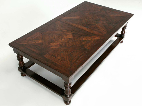 Custom Coffee Table with French Parquet Top Angled