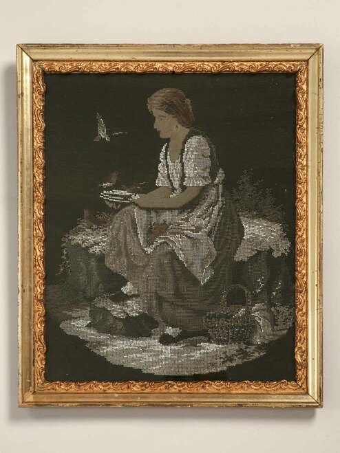 Hand Beaded Portrait of Victorian Woman