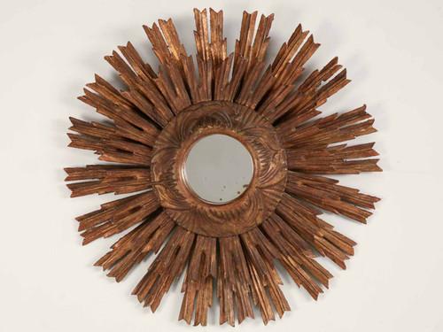 Vintage Carved & Gilded Sunburst Mirror