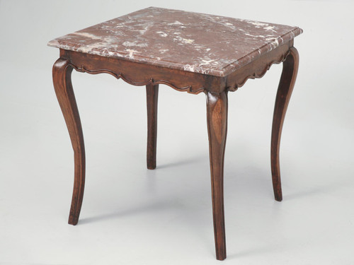 18th C. Antique French Louis XV Cherry Side Table Angled
