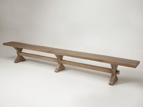 Handmade Rift-Cut White Oak Country French Inspired Bench Angled