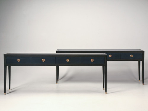 Pair of Custom Console or Sofa Tables in Leather and Wood Pair Front