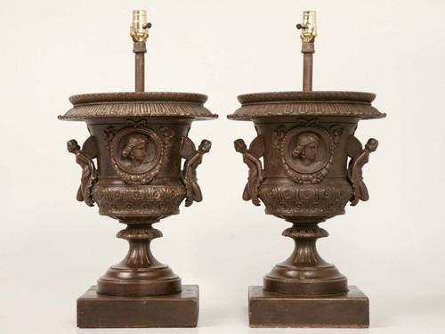 Pair Italian Iron Winged Maidens Urn Lamps