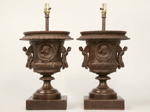 Pair Italian Iron Winged Maidens Urn Lamps Pair Front