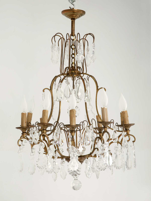 Vintage French Hand Cut Crystal Chandelier