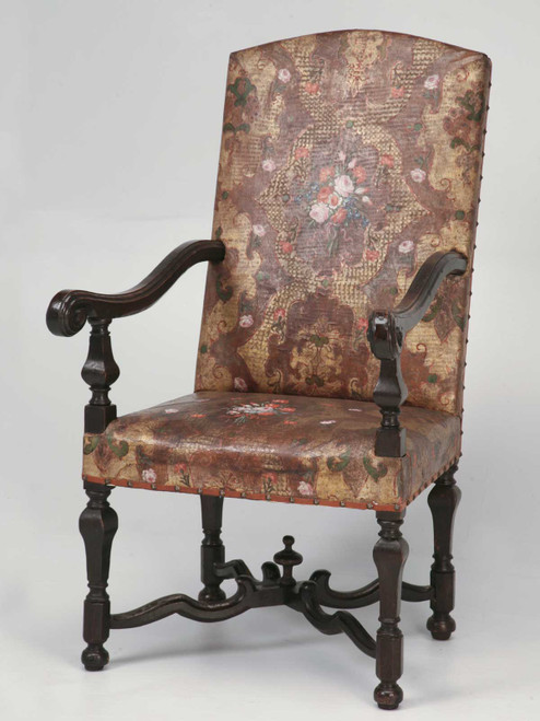 """Antique """"Embossed Leather"""" Throne Chair Front"""