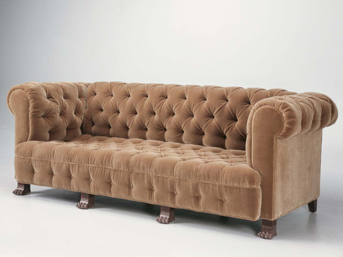 Custom Tufted Back Sofa w/ Gold Feet Angled