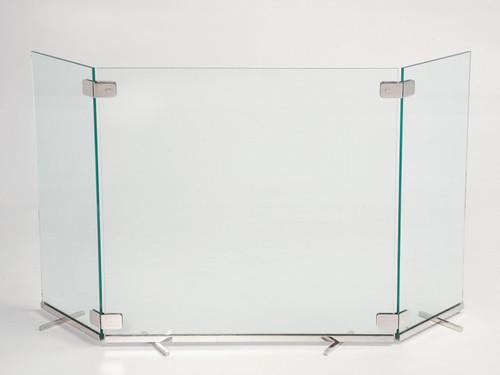 Custom Modern Brass & Glass Fire Screen