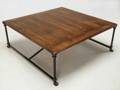 Custom Coffee Table with Steel & Bronze Base Angled