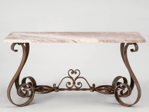 Vintage French Forties Iron & Stone Console Table Front