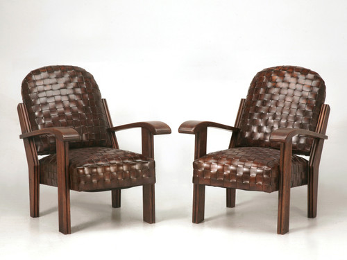 Pair of Unique New Hand Woven Leather Club Chairs