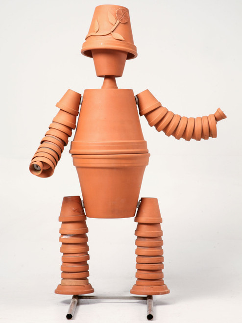Vintage Terracotta Flower Pot Man