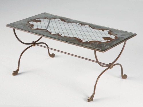 Vintage French Forties Eglomise Coffee Table Angled