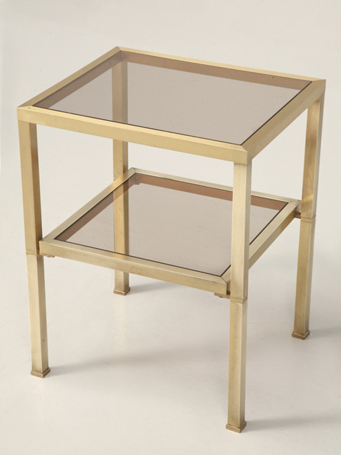 French Modern Brushed Brass & Glass Table aNGLED