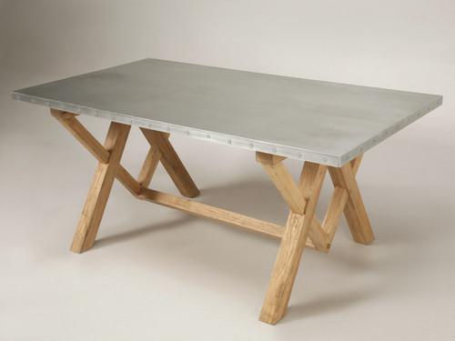 Original Zinc Top Farm Dining or Kitchen Table Main