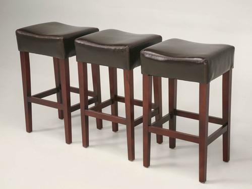 Contemporary Leather Bar Stools Set Angled