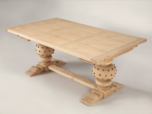 Studded French Solid White Oak Trestle Table Main