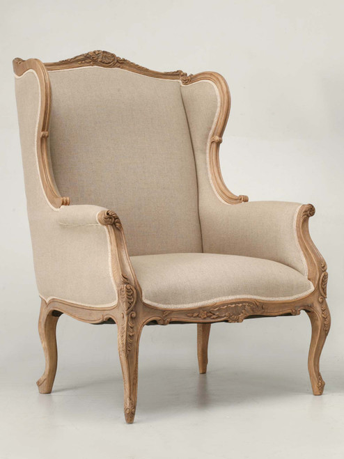 Reproduction Louis XV Style Wing Back Chair Angled View